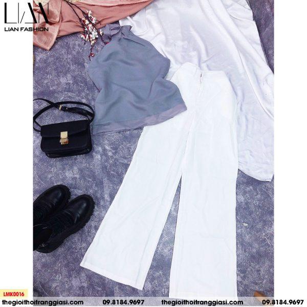 set áo cổ yếm nơ và quần ống suông trắng